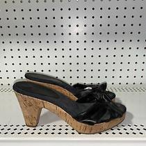Coach Karen Womens Cork Wedge Bow Slides Sandals Size 6.5 B Black Photo