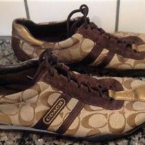 Coach Kate Brown Gold Women's Tennis Athletic Shoes Sneakers - Sz. 8.5 - Vguc Photo