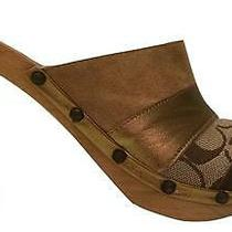 Coach Katy Wooden Mules Brown Signature Patchwork Size 7 M Studs Italy Photo