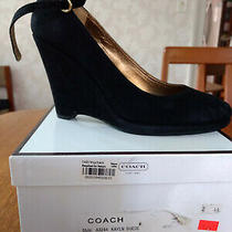 Coach Kayln Suede Wedge Heel Black - Size 7.5 Photo