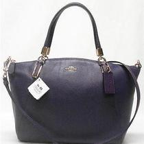 Coach  Kelsey Pebbled Leather Satchel Crossbody Purse Bag Violet Photo