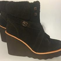 Coach Kenna Black Wedge Boots Booties Size 7.5 New Without Box Suede  Photo