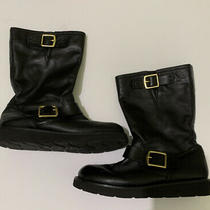 Coach Kenna Nappa Black Motorcycle Style Mid Calf Boots Size 6 A7157 Booties Photo
