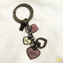 Coach Key Fob -  Dangling Hearts - Pink/purple/ivory Hearts With Bling - Mint Photo