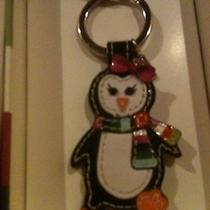 Coach Key Fob Ring Penguin New in Coach Gift Box F9014 Leather Striped Christmas Photo