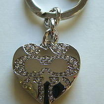 Coach Key Ring/fob Heart Shaped Signature Pave Crystal Photo Opening Silver  Photo