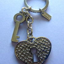 Coach Key Ring/fob Lock and Key Signature --Heart Shaped Lock-Silver Toned  Photo