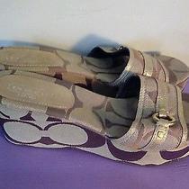Coach  Khaki Gold Tan Signature Jacquard Wedges Logo Sandals Size 10 Photo