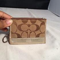 Coach Khaki Jacquard Signature Card Coin Case Key Ring With Gold Leather Trim Photo