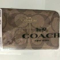 Coach Khaki Saddle Zip Around Coin Case in Signature Canvas 78 Msrp New Photo