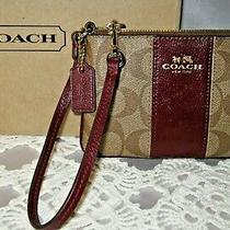 Coach Khaki Signature Coated Canvas Burgundy Leather Corner Zip Wristlet Photo
