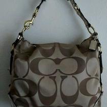 Coach Khaki Signature Sateen Mirror Metallic Large Original Carly Bag Photo