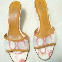 Coach Kirsten Signature Logo Pink Cream Slide on Sandal Shoes Kitten Heel Sz 8.5 Photo
