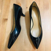 Coach Kitten Heel Punted Toe Polished Black Leather Pump Shoes Nwob Size 7 Photo