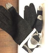 Coach Knit Tech Touch Gloves Black/cream Orig. 65 Still in Coach Gift Box Photo