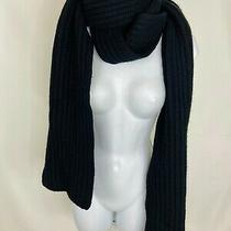 Coach Knitted Solid Black Merino Wool Scarf Warm Long Length Photo