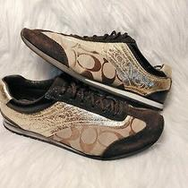 Coach Kodie Brown Suede Gold Leather Signature Jacquard Print Sneakers 6.5  Photo