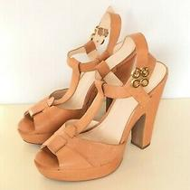 Coach Kourtney Sz 8 B Tan  Leather Italy Ankle T Strap Sandals Heel Shoes Open  Photo