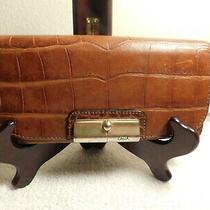 Coach Kristin Brown Leather Croc Leather Medium Bifold Wallet Photo