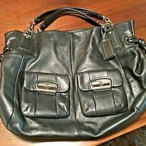 Coach Kristin Elevated North South Black Leather Large Zip Tote Bag Satchel. Photo