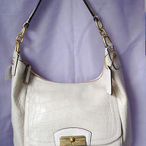 Coach Kristin Embossed Hobo White Leather Nwt 22925 Photo