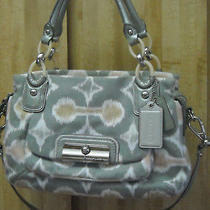Coach Kristin Ikat Gray Hobo Op Art Canvas Handbag Purse 16940 Vguc Photo