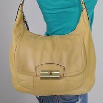 Coach Kristin Medium Yellow Leather Shoulder Hobo Tote Satchel Purse Bag Photo