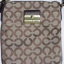 Coach Kristin Op Art Swingpack Crossbody Bag Tan/brown 43735 Photo