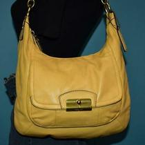 Coach Kristin Pale Yellow Leather Shoulder Shopper Satchel Hobo Bag Purse 22306 Photo