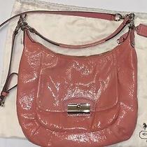 Coach Kristin Patent Leather Hobo Shoulder Handbag Coral Pink Purse Nwot Photo