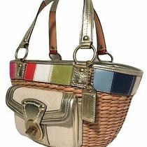 Coach  L0668- 10748 Straw Basket Tote Handbag With Leather Detail Photo