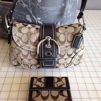 Coach L0669-10602 Brown/tan Chrome Handbag & Wallet Euc Photo