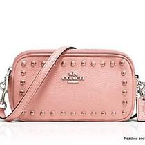 Coach Lacquer Rivets Pebble Leather Crossbody Pouch