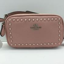 Coach Lacquer Rivets Pebbled Leather Crossbody Pouch 53450 (Blush) Photo