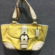 Coach Ladies Authentic Yellow Leather White Ivory Soho Tote Handbag Purse 1881 Photo
