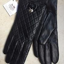 Coach Ladies Black Quilted Leather Gloves Merino Wool Lined Size 6.5 Nwt 148 Photo