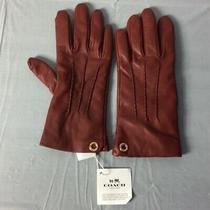 Coach Ladies Cherry  Leather Gloves F32700 S 6 1/2 Photo