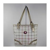 Coach Ladies Heritage Tattersall Leather Tote F19174 Photo