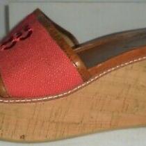 Coach Ladies Red Fabric Wedge Heel Slide Size 8 1/2 B Photo