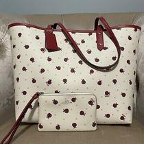 Coach Ladybug Reversible Tote Bag 2991 Handbag Wristlet Purse Set Red Chalk New Photo