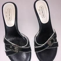 Coach Landis Patent/calf Leather Kitten Heels Size 7.5 Black Made in Italy Photo