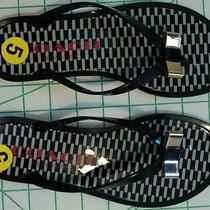 Coach Landon Jelly Flip Flops Sandal Thong Black With Metallic Bow - Size 5 Photo