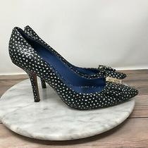 Coach Landrie Womens Size 7.5 Black/white Spotted Leather Pointed Toe Pumps Photo
