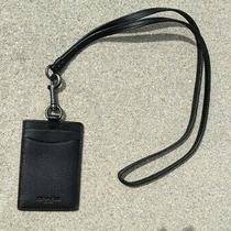 Coach Lanyard Signature Id Badge Holder Card Case Black Leather Photo