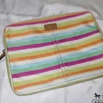 Coach Laptop Computer Case Bag Hamptons Watercolor Blue Green Pink White Stripe Photo