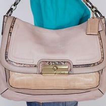 Coach Large Beige Leather Shoulder Hobo Tote Satchel Purse Bag Photo