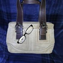Coach  Large Buff Tan Suede Brown Leather Tote Satchel Purse Photo