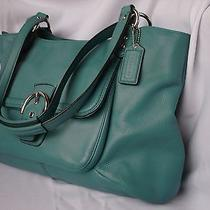 Coach Large Campbell Leather  Mineral Teal  Blue Green Bag Purse Caryall Photo
