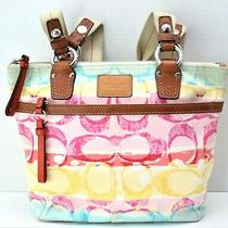 Coach Large Canvas & Leather Handbag Tote Pink Yellow Blue Photo