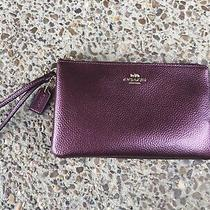 Coach Large Double Zip Wristlet Wallet Purple Leather. Photo